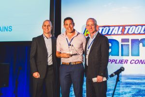 (L-R) – Total Tools Operations Manager, Scott Fitzgerald; Most Improved Franchise Store Award 2016 winner Mark Timbs of Total Tools Coopers Plains, with Total Tools CEO, Tim Cockayne.