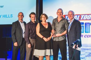 (L-R) – Total Tools operations manager, Scott Fitzgerald; Rookie Franchisee of the Year Award 2016 winners Marty Andrew (store manager), franchisees Tina and Shaun Hindley of Total Tools CEO Total Tools Gregory Hills, with Total Tools CEO, Tim Cockayne.