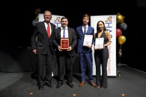 Rod Evins (Chair, Hardware Young Person of the Year Committee), winner Richard Norris (Globe Home Timber and Hardware, Broken Hill), Burke Taplin (Banner Mitre 10) and Grayce Bartemucci (Glynde Mitre 10).